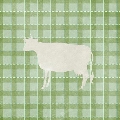 Farm Cow on Plaid-Elizabeth Medley-Art Print