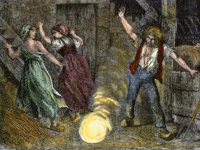 Farm Family Frightened by Ball Lightning--Giclee Print