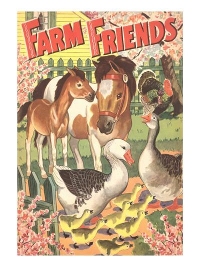 Farm Friends, Geese, Horses--Art Print