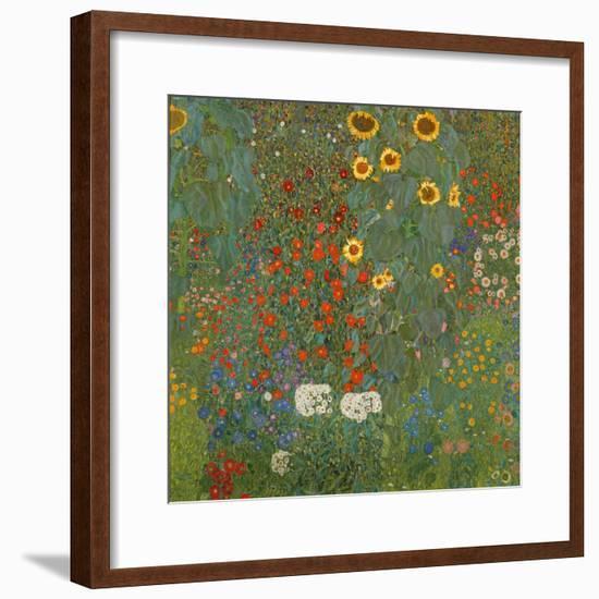 Farm Garden with Sunflowers, 1905-06-Gustav Klimt-Framed Premium Giclee Print