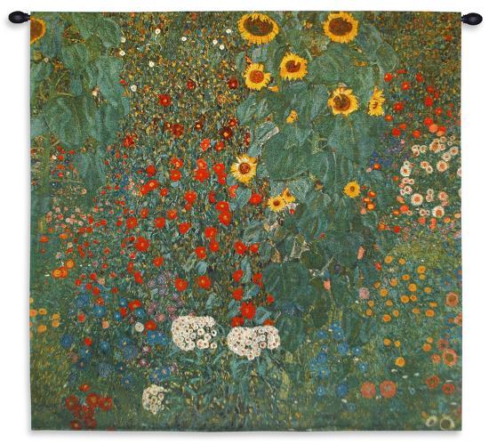 Farm Garden with Sunflowers, c.1912 - Small-Gustav Klimt-Wall Tapestry