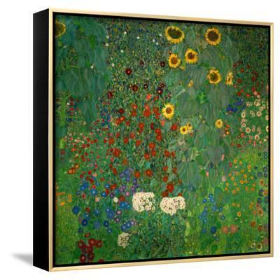 Farm Garden with Sunflowers, c.1912-Gustav Klimt-Framed Canvas Print