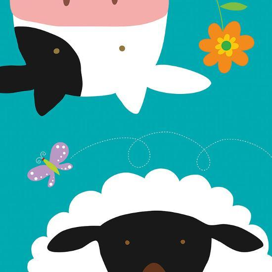 Farm Group: Cow and Sheep-Yuko Lau-Art Print