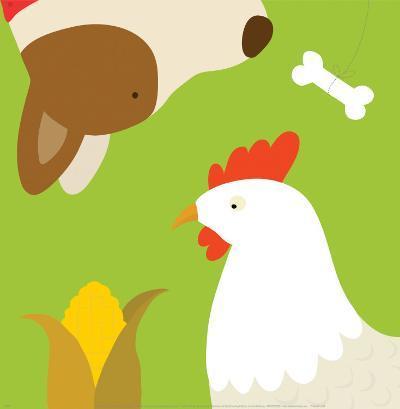 Farm Group: Hen and Dog-Yuko Lau-Art Print