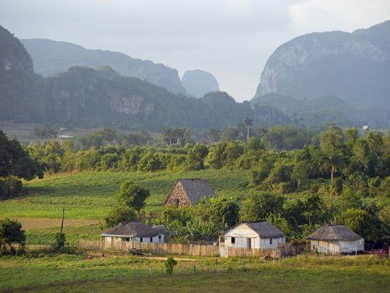 Farm Houses and Mountains, Vinales Valley, Cuba, West Indies, Caribbean, Central America-Christian Kober-Photographic Print