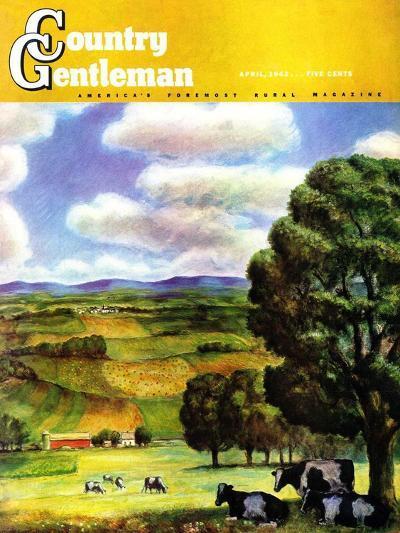 """Farm Landscape,"" Country Gentleman Cover, April 1, 1942-J^ Steuart Curry-Giclee Print"
