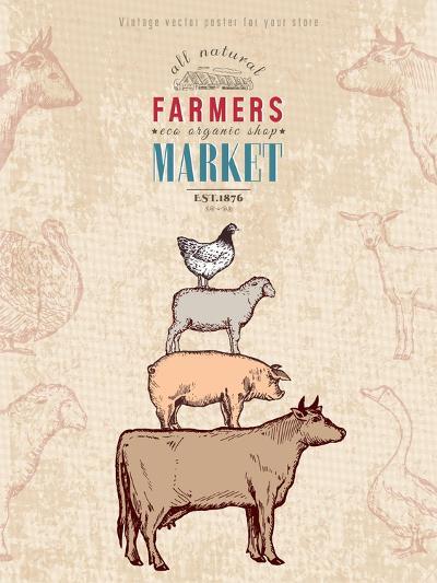 Farm Shop Vintage Poster Retro Butcher Shop Farm Animals Livestock Farming Poster Hand Drawn Ink Ve-intueri-Art Print
