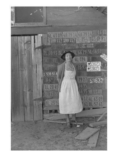 Farm Woman Beside Her Barn Door-Dorothea Lange-Art Print