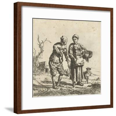 Farmer and his wife in conversation-Adriaen van de Velde-Framed Giclee Print