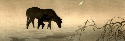 Farmer and Horse in the Water-Koson Ohara-Giclee Print
