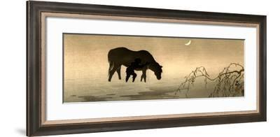 Farmer and Horse in the Water-Koson Ohara-Framed Giclee Print