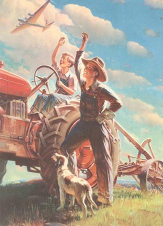 Farmer and Son Waving to Airplane