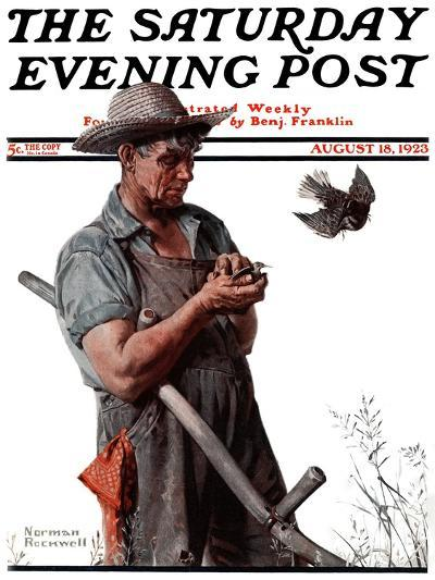"""""""Farmer and the Bird"""" or """"Harvest Time"""" Saturday Evening Post Cover, August 18,1923-Norman Rockwell-Giclee Print"""