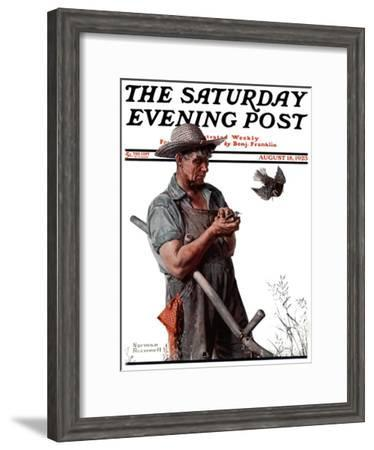 """""""Farmer and the Bird"""" or """"Harvest Time"""" Saturday Evening Post Cover, August 18,1923-Norman Rockwell-Framed Giclee Print"""