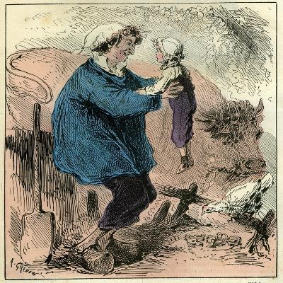 Farmer Child 19th Century Chicken Spade Country Side France--Giclee Print