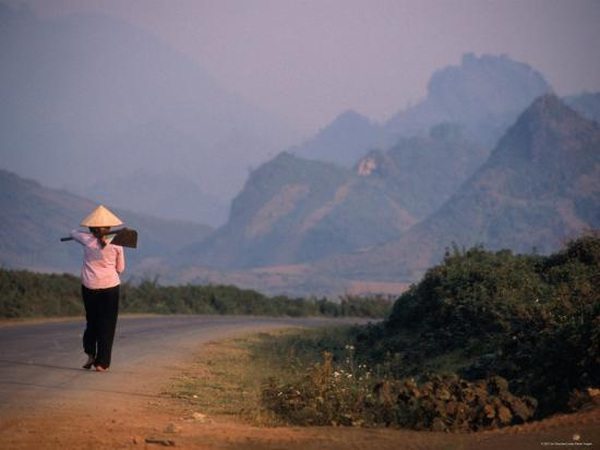Farmer Makes Her Way to Field in Morning, Shouldering Hoe, Tam Duong, Lao Cai, Vietnam-Stu Smucker-Photographic Print