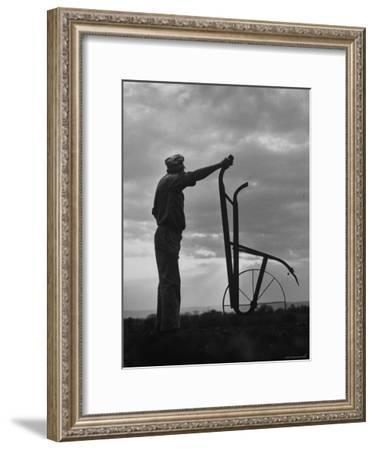 Farmer Plowing the Fields-Ed Clark-Framed Photographic Print