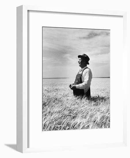 Farmer Posing in His Wheat Field-Ed Clark-Framed Photographic Print