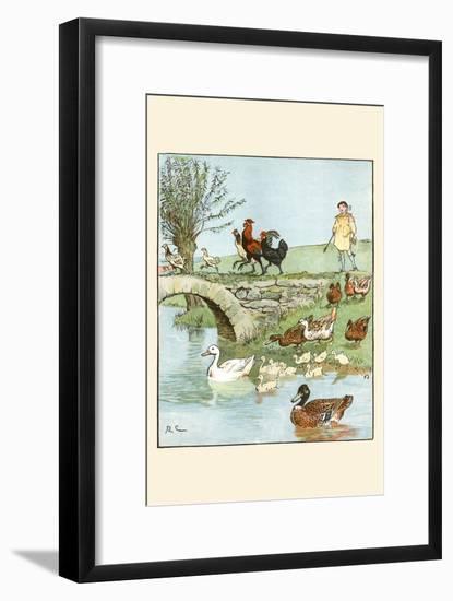 Farmer's Boys Leads the Chickens and Ducks-Randolph Caldecott-Framed Premium Giclee Print