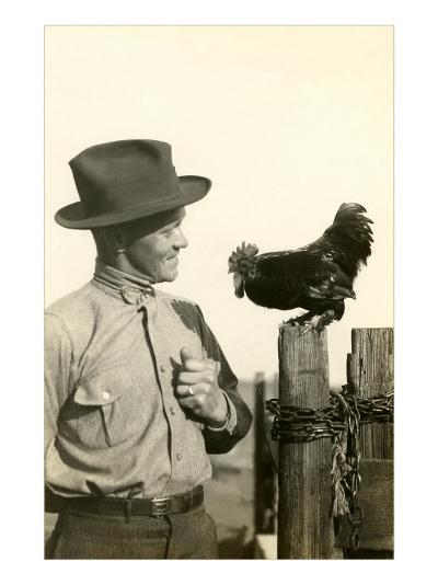 Farmer Talking to Rooster--Art Print