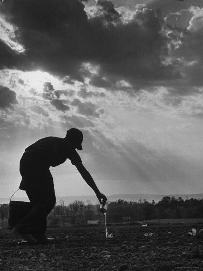 Farmer Watering the Crops-Ed Clark-Photographic Print