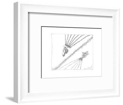 Farmer waving to sailor - Cartoon-John O'brien-Framed Premium Giclee Print