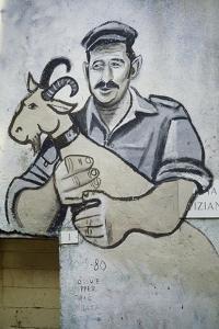 Farmer with Goat, Mural in Orgosolo, Sardinia, Italy