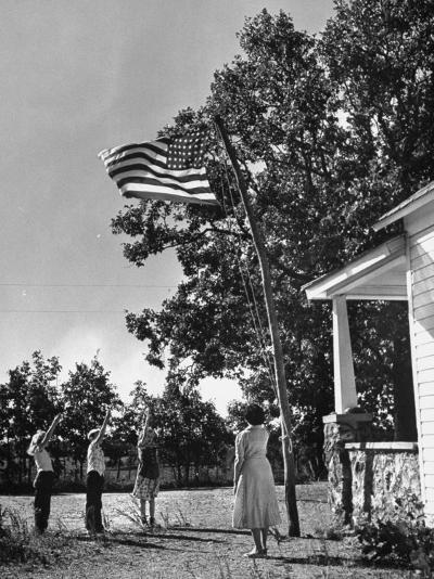 Farmers Family Saluting the Us Flag, During the Drought in Central and South Missouri-John Dominis-Photographic Print