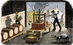 Farmers Pressing Apples to Make Cider, 1800s