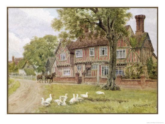 Farmhouse at Brent Eleigh Suffolk-A.r. Quinton-Giclee Print