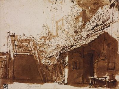 Farmhouse in Light and Shadow-Rembrandt van Rijn-Giclee Print