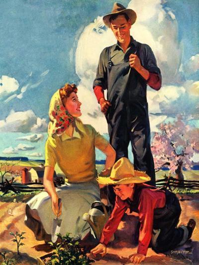 """Farming Family,""April 1, 1943-George Rapp-Giclee Print"