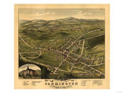 Farmington, New Hampshire - Panoramic Map-Lantern Press-Art Print