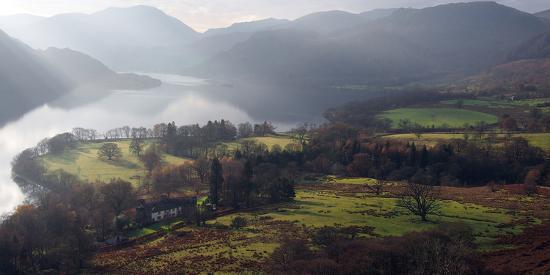 Farmland, Ullswater, Lake District National Park, Cumbria, England, United Kingdom, Europe-Martin Pittaway-Photographic Print