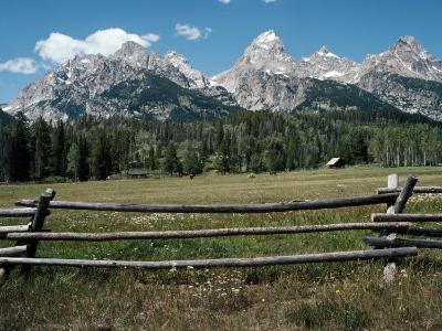 Farmland with Mountains in Background, Teton Np, Wyoming, Usa-Jeff Foott-Photographic Print