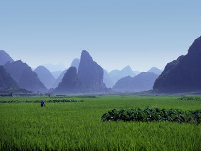 Farmland with the Famous Limestone Mountains of Guilin, Guangxi Province, China-Charles Sleicher-Photographic Print