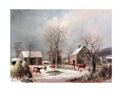 Farmyard in Winter-George Henry Durrie-Giclee Print