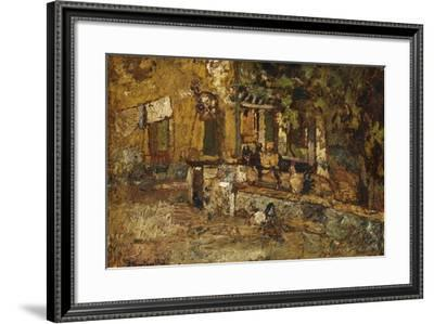 Farmyard with a Donkey and Cockerels-Adolphe Joseph Thomas Monticelli-Framed Giclee Print