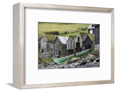 Faroes, Vagar, Bour, boathouses-olbor-Framed Photographic Print
