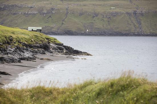 Faroes, Vagar, Bour, house, coast-olbor-Photographic Print