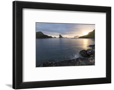 Faroes, Vagar, Tindholmur, bay, Sorvagsfjordur, evening-olbor-Framed Photographic Print
