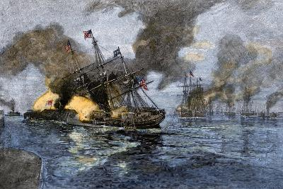 """Farragut's Flagship USS """"Hartford"""" Colliding with the Ironclad CSS """"Tennessee"""", 1864--Giclee Print"""