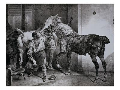 Farrier at Work Lithograph from Etudes de Cheveaux-Th?odore G?ricault-Giclee Print