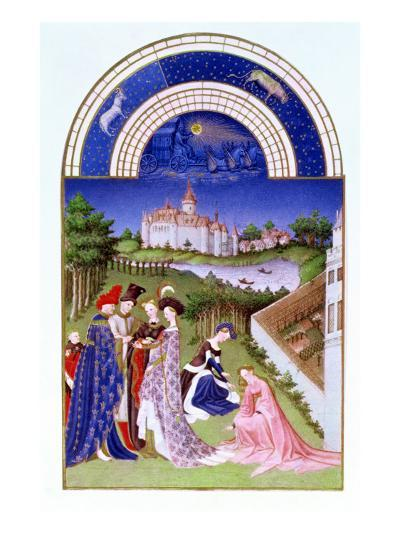Fascimile of April: Courtly Figures in the Castle Grounds by the Limbourg brothers, from the 'Tres --Giclee Print