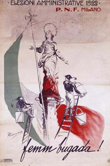 Fascist Poster for Local Elections in 1922, Italy--Giclee Print