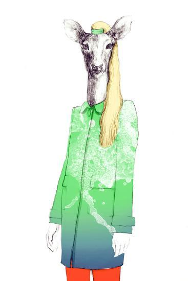 Fashion Animal .Watercolor Illustration-Anna Ismagilova-Photographic Print