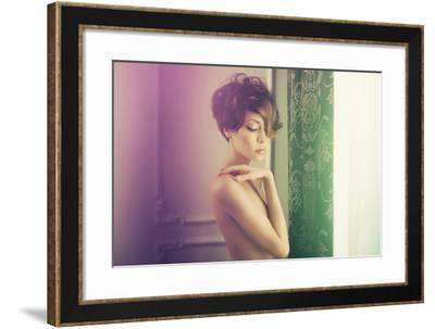 Fashion Art Photo of Young Sensual Lady in Classical Interior-George Mayer-Framed Photographic Print