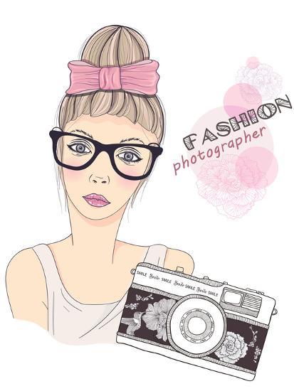 Fashion Girl Photographer-cherry blossom girl-Art Print