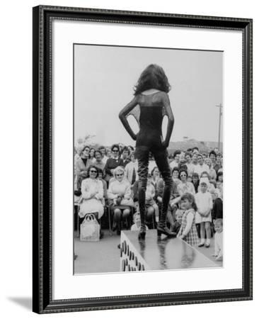 Fashion Model Donyale Luna at End of Outdoor Runway and Modeling Thigh High Lace Up Leather Boots--Framed Premium Photographic Print