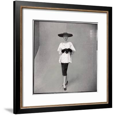 Fashion Model Showing Polka Dotted Smock Top over Black Skirt by Balenciaga-Gordon Parks-Framed Premium Photographic Print